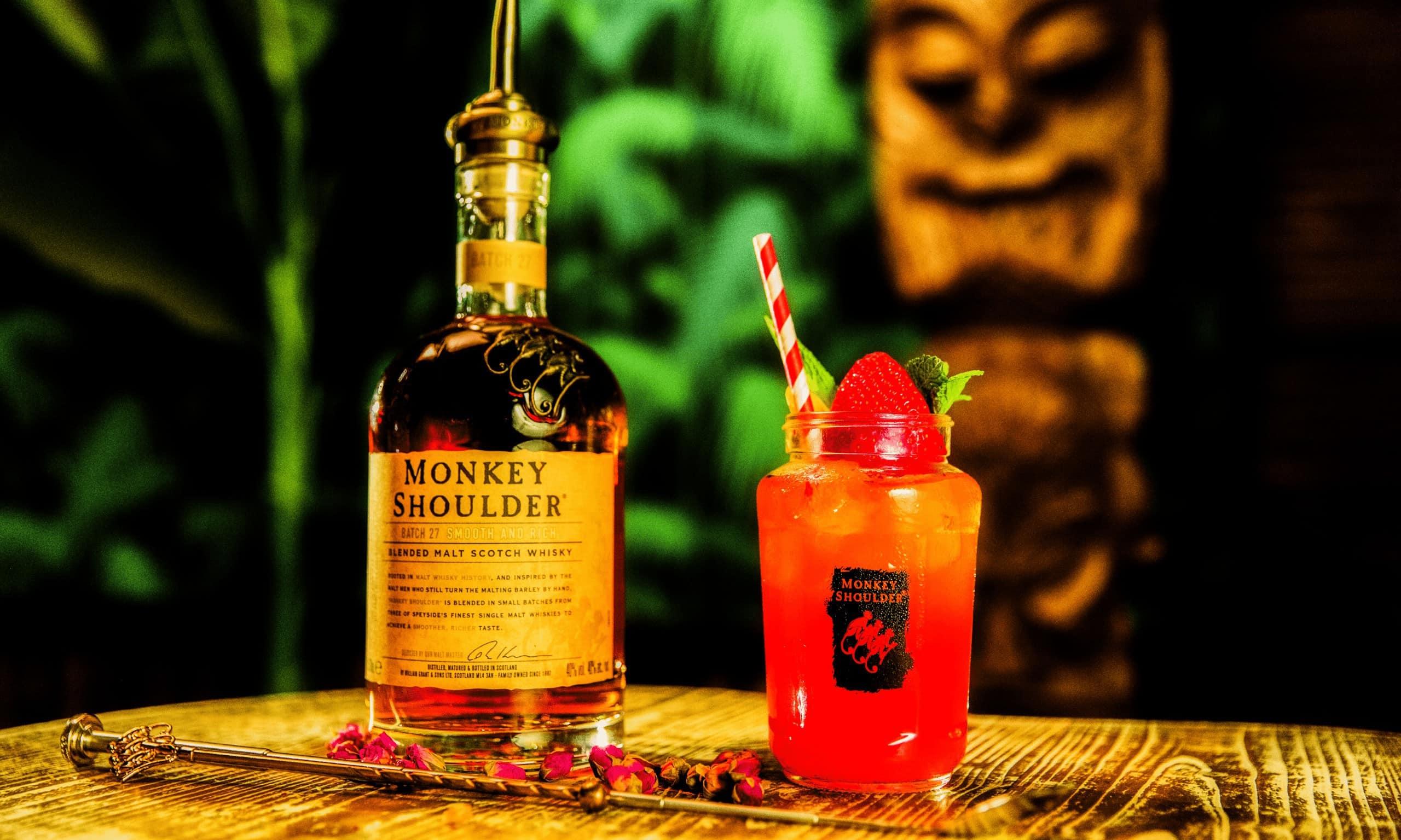 Monkey shoulder whiskey served cold.
