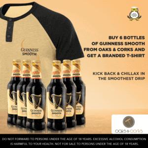 Buy 6 bottles of Guinness smooth Get 1 Tshirt/1 Cap