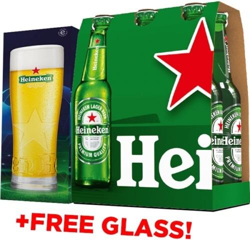 Order 6x Heineken Bottle 330ml + Free Glass