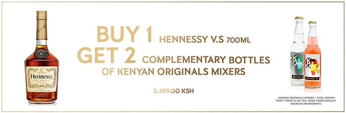 Buy Hennessy VS Cognac, get 2 free mixers!