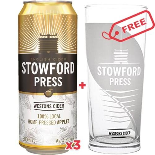 3x Stowford Press Cider 500ml + Free Glass